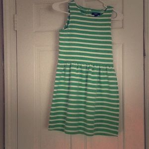 GapKids size 10-11. Green and white striped dress